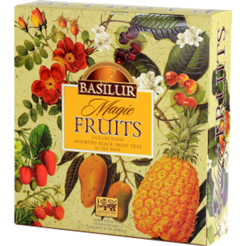 Exchanging fruits and beverages as gifts has been a tradition around the world since medieval times. It has evolved in today's world in a more distinctively creative manner where we present beautifully packaged food and beverage items as gifts for all occasions. Basilur's Magic Fruits Assorted gift pack personifies this ancient tradition in a more versatile and a luxurious manner with some of the finest teas on earth, blended with exotic fruits, encased in beautiful packaging. A symbol of prosperity, unity and warmth wrapped in one exquisite box of pure goodness. 40 ASSORTED MAGIC FRUITS TEA BAGS Mango & Pineapple: A rich blend of black teas combined with natural exotic fruits and flavours to make a delicious, refreshing tea that is divine hot or iced! This is a connoisseur's perfect cuppa that is deep and rich, yet aromatic and romantic. Raspberry & Rosehip: A mélange of pure Ceylon black tea together with natural Rosehip and Raspberry flavour make the perfect healthy drink you could dream about. Best known for its high content of vitamin C, Rosehip have been used for centuries. Sweet Cherry: A tea which will transform the everyday tea drinking experience into an everyday celebration with the sweetness of delectable ripe red sweet cherries. Basilur's Sweet Cherry tea is a celebratory combination of Ceylon's finest tea and sweet cherry which will add a touch of extra magic with each and every sip. Strawberry & Kiwi: Combining the fruits, sweet & luscious flavour of Strawberries and the subtle essence of Kiwi with bright Ceylon black tea, this is an unforgettable treat. A delicious fruit tisane that is full bodied and refreshing.
