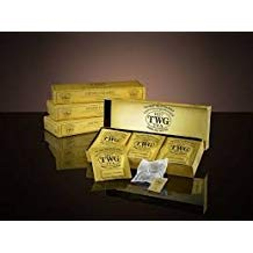 This noble TWG Tea breakfast blend is evocative of the sophisticated harmony of Singapore. Boasting a natural blend of green tea, black tea, rich vanilla and rare spices, this tea yields a complex flavour with a sweet and lingering aftertaste.   15 x 2.5g Teabags