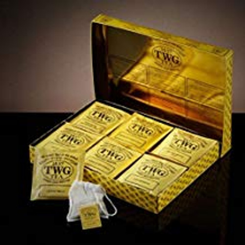 TWG Tea presents the ultimate teabag, entirely hand-sewn from 100% cotton containing 2½ grams of whole-leaf fine harvests and exclusive tea blends. This classic teabag assortment includes Singapore Breakfast Tea, French Earl Grey, Silver Moon Tea, 1837 Black Tea, Vanilla Bourbon Tea, Chamomile, displayed in a magnificent gift box.    30 x 2.5g Teabags