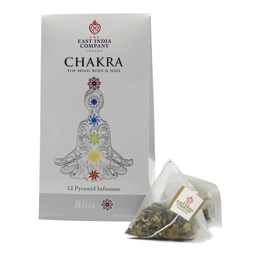The soothing flavours of whole chamomile and rose flowers are combined in this Bliss infusion, an ideal evening blend. Regain a deep sense of harmony with this blend of spices known to calm the mind and open the space of enlightenment, otherwise known as the crown chakra. A caffeine-free infusion.  Chakra Location & Attribute: The Crown Chakra, associated with divinity, peace and enlightenment. Key Flavour Note: Chamomile.