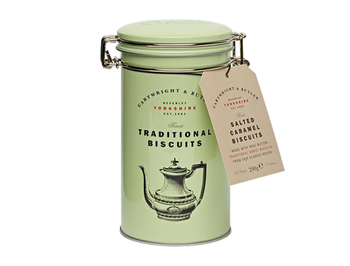 These sophisticated biscuits are elegantly delicious.  Lovely with a nice cup of Earl Grey tea, we've also been known to crumble them over plain vanilla ice cream.  Presented in a beautiful gift tin with a kilner style lid.