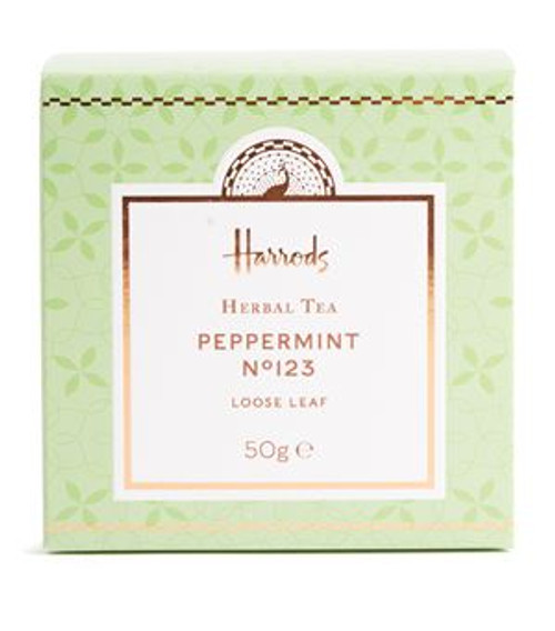 DETAILS 50g OVERVIEW Add the Harrods touch to your favourite herbal beverage courtesy of the Peppermint Nº123 Tea. This refreshing blend is the perfect palate-cleansing drink and is best served black. For summer days, try adding ice, lemon, honey and mint leaves for a cooling jug of iced tea.  INGREDIENTS Peppermint (77%), spearmint (22%), cornflower petals (1%).