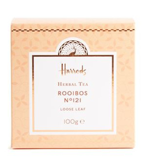 DETAILS 100g OVERVIEW Sourced in South Africa, the No.121 Rooibos Tea from Harrods is a refreshing and light herbal infusion. Offering a sweet taste with hints of nut and honey, the beverage is just as delectable enjoyed hot or served with ice and fruits.