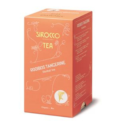 DETAILS Vegan Tea origin: South Africa OVERVIEW Grown only in the ruggedly beautiful Cederberg Mountain region of South Africa, organically-grown rooibos mingles with tangerine to create this inimitable tea from Sirocco. Caffeine-free and with low tannin levels, this wonderfully aromatic tea is ideal for a late-night cuppa.  INGREDIENTS For allergens, see ingredients listed in bold: Rooibos, hibiscus, marigold flowers, other natural flavours.