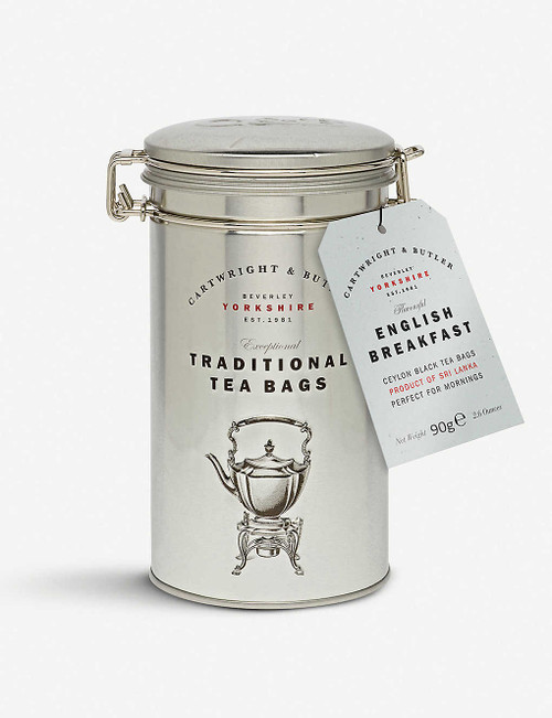Cartwright and Butler English Breakfast Tea 75g  Ingredients 100% Black Tea  Product Claims Suitable For Ovo Lacto Vegetarians, Diabetics, Lactose Intolerence, Ovo Vegetarians, Vegans and Vegetarians  Storage Information Please store in a cool, dry place  Country of Origin United Kingdom