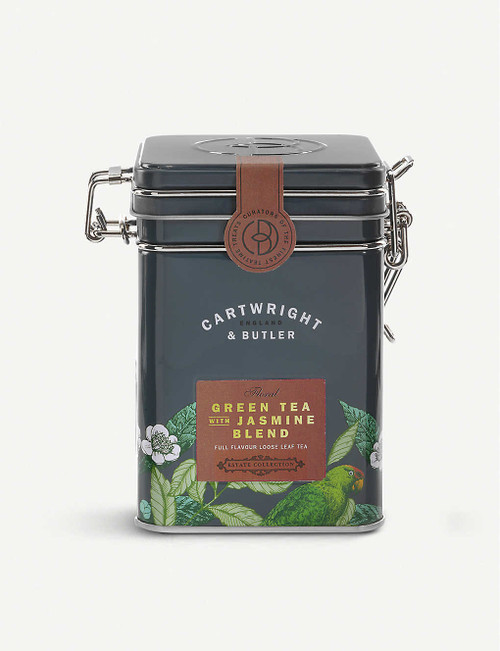 Cartwright & Butler Green tea with jasmine loose leaf tea blend 100g  Ingredients 67% Green tea, 30% Jasmine-scented green tea, 3% marigold flowers  Nutritional Information Portion Size 2.5 g Energy - kJ 0 per 100g Energy - kcal 0 per 100g Fat (g) 0 per 100g Carbohydrates (g) 0 per 100g Carbohydrates of which Sugars (g) 0 per 100g Fibre (g) 0 per 100g Protein (g) 0 per 100g Salt (g) 0 per 100g  Storage Information Store in a cool, dry place  Country of Origin United Kingdom