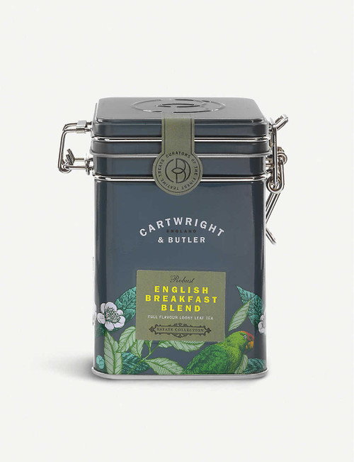 Cartwright & Butler English Breakfast loose leaf tea blend 100g  Ingredients 100% black tea  Nutritional Information Portion Size 2.5 g Energy - kJ 0 per 100g Energy - kcal 0 per 100g Fat (g) 0 per 100g Carbohydrates (g) 0 per 100g Carbohydrates of which Sugars (g) 0 per 100g Fibre (g) 0 per 100g Protein (g) 0 per 100g Salt (g) 0 per 100g  Storage Information Store in a cool, dry place  Country of Origin United Kingdom