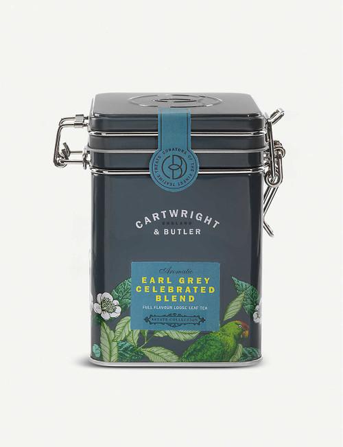 Cartwright & Butler Earl Grey Celebrated loose leaf tea blend 100g  Ingredients 93% Black Tea, 3% cornflowers, 2% Orange Peels, 2% natural bergamot flavour  Nutritional Information Portion Size 2.5 g Energy - kJ 0 per 100g Energy - kcal 0 per 100g Fat (g) 0 per 100g Carbohydrates (g) 0 per 100g Carbohydrates of which Sugars (g) 0 per 100g Fibre (g) 0 per 100g Protein (g) 0 per 100g Salt (g) 0 per 100g  Storage Information Store in a cool, dry place  Country of Origin United Kingdom