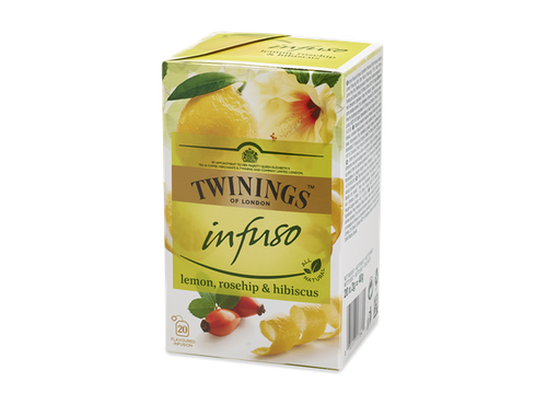 Lemon Flavoured Infusion  Let's wander through lemon groves, where a lovely aroma of citrus fills the air. This light, refreshing blend captures the combination of the fresh, zingy taste of lemons and white hibiscus blended with rosehip. Every sip will brighten up your day with a little sunshine.  This infusion is made with all-natural ingredients and is naturally caffeine free so you can enjoy it any time of the day.  Rosehips, White Hibiscus, Natural Lemon Flavouring with Other Natural Flavourings (15%), Apple Pieces, Lemon Peel (6%).