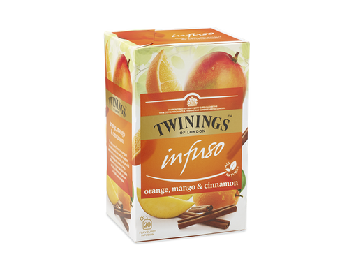 Mango, Orange and Cinnamon Flavoured Infusion.  The silky sweet flavour of mangoes is combined with the taste of oranges and a touch of cinnamon for a blend with an indulgently aromatic twist.  With every sip you take, this warm and spicy infusion will take you to a lush green paradise.  This infusion is made with all-natural ingredients and is naturally caffeine free so you can enjoy it any time of the day.    Hibiscus, Mango Flavouring (14%), Natural Orange Flavouring (13%), Cinnamon (7%), Orange Peel, Blackberry Leaves, Apple Pieces, Rosehips, Liquorice Root.