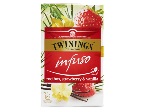 Strawberry and Vanilla Flavoured Rooibos Infusion.  The naturally sweet flavour of strawberries and rich notes of vanilla are combined with the refreshing herbal taste of rooibos in this delicate infusion.  With its warming, russet colour, it's ideal for drinking any time when you need a soothing taste.  This infusion is made with all-natural ingredients and is naturally caffeine free so you can enjoy it any time of the day.    Rooibos, Nautral Strawberry Flavouring with Other Natural Flavourings (9%), Natural Vanilla Flavouring (1%).