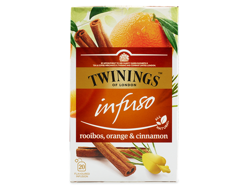 Orange and Cinnamon Flavoured Rooibos Infusion.  Orange, meet rooibos.  We're convinced you were made for each other.  The sweet flavour of the orange and the refreshing herbal notes of the rooibos are a match made in heaven - and a hint of cinnamon rounds off this warming blend.  This infusion is made with all-natural ingredients and is naturally caffeine free so you can enjoy it any time of the day.    Rooibos, Vietnamese Cinnamon (30%), Natural Orange Flavourings (12%), Natural Orange Flavouring with Other Natural Flavourings (12%), Orange Peel (5%).