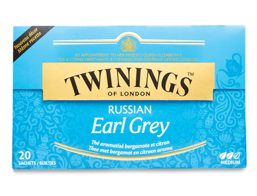 Bergamot and Lemon Flavour Black Tea.  This Russian Earl Grey is one of our most popular international teas blends. We love the sumptuous blend of black tea delicately flavoured lemon and bergamot.  Black Tea, Bergamot and Lemon Flavourings (7.5%
