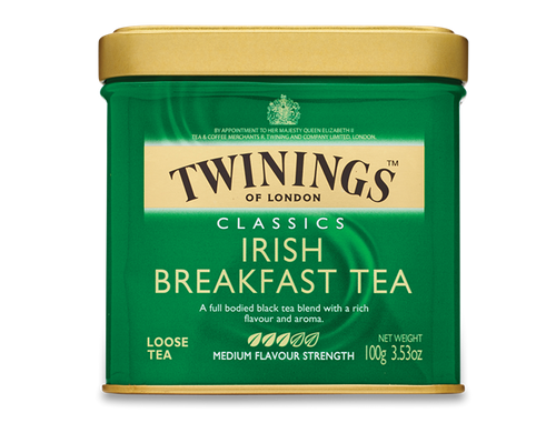 About Irish Breakfast tea: Irish breakfast has in the past, simply been called 'Irish Tea' and was developed at the turn of the last century for the Irish market. Unlike its fore-runner English Breakfast, Irish Breakfast is much stronger, more intense in taste and bolder in colour. Twinings has created a wonderful blend of African broken pekoe and tasty Sri Lankan broken orange pekoe, and this tea is extremely popular.    100% Black Tea