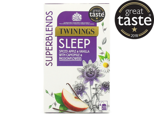 "Spiced Apple and Vanilla Flavoured Herbal Infusion with Camomile and Passionflower.  This delicious blend combining camomile, passionflowers, apple and vanilla flavourings is smooth and warming, making it the perfect part of your bedtime routine.  Take your last sip and sink your head into a soft pillow.  What does it taste like? This is a deliciously smooth and serene blend.  The apple & vanilla flavourings and the camomile bring a touch of comforting sweetness, with a dash of cinnamon-remiiniscent of apple pie with vanilla ice cream.  Great Taste 2018 Winner - ""We found both chamomile character and some toffeed notes here, mellow and soothing and enjoyable.""  Passionflower (35%), Apple Pieces (15%), Camomile (14%), Cinnamon (10%), Natural Apple Flavouring with Other Natural Flavourings (10%), Cardamom (6%), Cloves (6%), Natural Vanilla Flavouring with other Natural Flavourings (4%).  Suitable for Vegans"