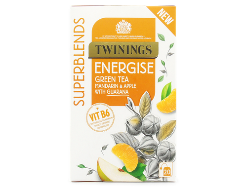 Mandarin & Apple Flavoured Green Tea with Guarana and added Vitamin B6.  Vitamin B6 contributes to normal energy-yielding metabolism.  Enjoy at least 1 cup a day as part of a varied, balanced diet and a healthy lifestyle.  Feeling full of energy is the inspiration behind this carefully crafted Energise blend.  This blend contains Green tea and Guarana, with Mandarin and Apple flavours which bring delicious sweetness.  We've also added Vitamin B6 which contributes to normal energy-yielding metabolism to help you feel at your best every day.  What does it taste like? This delicious green tea has subtle citrusy flavours from the mandarin. It's clean and fresh tasting.  INGREDIENTS Green Tea (65%), Apple Pieces (20%), Natural Apple Flavouring with Other Natural Flavourings (8%), Natural Mandarin Flavouring (3%), Guarana (2%), Vitamin B6 (1%), Natural Flavouring.  Suitable for Vegans