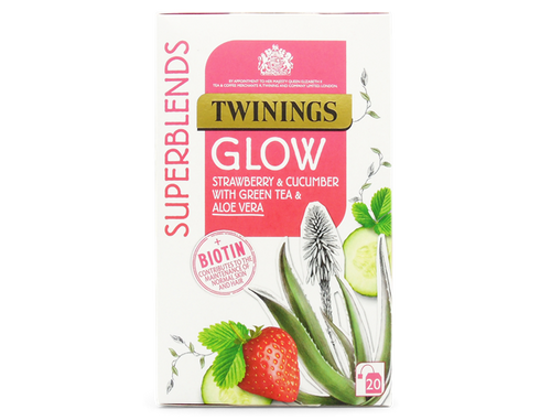 Strawberry and Cucumber Flavoured Herbal Infusion with Green Tea, Aloe Vera and added Biotin.  Biotin contributes to the maintenance of normal skin and normal hair.  Enjoy at least 1 cup a day as part of a varied and balanced diet and a healthy lifestyle.  When your skin and hair glows, you radiate confidence and feel great.  This is the inspiration behind this carefully crafted Glow blend.  This blend is a delicious mix of refreshing Green tea, Aloe Vera and Cucumber flavouring.  A touch of gorgeously sweet, strawberry flavouring ensures this is the tastiest part of your beauty regime.  What does it taste like? This delicious green tea is sweet, refreshing and easy to drink at any time of the day.    Green Tea (39%), Apple Pieces, Nettle, Natural Strawberry Flavouring with Other Natural Flavourings (8%), Peppermint, Natural Cucumber Flavouring (5%), Natural Flavouring, Aloe Vera Juice Granules (1%), Biotin (1%).  Suitable for Vegans