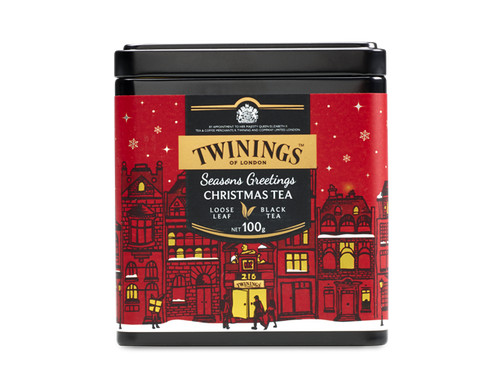 Black Tea with Spice Flavour  A wonderful tea for the Christmas season. Our Christmas Tea is a spiced malty black tea that has been expertly blended with warming, spicy, Christmas flavours off safflowers and orange peel. Enjoy with or without milk for a delicious festive treat.  The caddy depicts a wintery scene in the heart of London where Twinings was founded in 1706. When Thomas Twining opened his Golden Lyon shop at 216 Strand, it was the first of its kind and London's love affair with tea started to blossom.    INGREDIENTS Black Tea, Orange Peels (5%), Christmas Spice Flavouring (2.5%), Safflowers (1%).