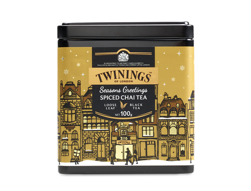 A blend of black tea, rooibos and spices.  Our Christmas Chai blend of black tea, rooibos and fragrant spices is  warming and aromatiic. Perfectly blended to create a wonderfully rich and spicy festive blend. Great with or without milk. Add steamed milk for a more indulgent drink.  The caddy depicts a wintery scene in the heart of London where Twinings was founded in 1706. When Thomas Twining opened his Golden Lyon shop at 216 Strand, it was the first of its kind and London's love affair with tea started to blossom.    INGREDIENTS Black Tea, Cinnamon (15%), Rooibos (10%), Cardamom (10%), Cloves, Fennel Seed (5%), Black Peppercorns.
