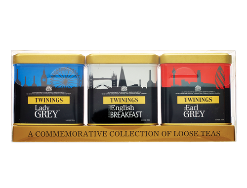 """Twinings London Skyline Tea Collection - Celebrating London and Britishness.  A collection of three loose tea caddies: Red - filled with Earl Grey Tea White -  filled with English Breakfast Tea Blue - filled with Lady Grey Tea  """"Really nice, perfect gifts or souvenirs from London.""""    INGREDIENTS Earl Grey - Tea, Bergamot Flavouring. English Breakfast - 100% Black Tea. Lady Grey - Tea, Orange Peel (3%), Lemon Peel (2%), Cornflowers (1%), Flavouring"""
