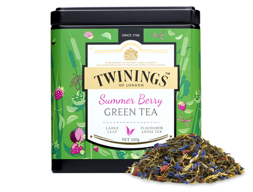 Strawberry and blueberry flavour green tea.  Mellow green tea, combined with sweet, juicy berry flavours and finished with marigold and cornflower petals. Here's a tea to get you to a good place - mellow, meandering, full-flavoured and a little dreamy. Like a river running through a flower meadow.  Using steamed green tea as a base, Twinings' Masterblenders have added strawberry and blueberry flavours to this blend, giving it a rounded quality to enhance your day in a wonderful way.    INGREDIENTS Green Tea, Flavourings (3%) , Marigold Flowers (2%), Blue Cornflowers (1.5%) Strawberry Pieces (1%).