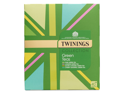 Enjoy this collection of Twinings' favourite green teas throughout the day. Something for every occasion.  Twinings'  Union Jack selection boxes are hugely popular gifts and this Twinings Collection contains some of their favourite Green teas  10 x Pure Green Tea - Refreshing and earthy blend which retains its natural, distinctive flavour. 10 x Jasmine Green Tea - Pure elegance; smooth and floral.   10 x Salted Caramel Green Tea - Sweet but somehow slightly salty and truly indulgent 10 x Cherry Bakewell Green Tea - Almondy cherry taste, delicately softened with smooth vanilla 40 Envelopes. Each string & tag teabag is wrapped in its own envelope for extra freshness.    INGREDIENTS Pure Green Tea Ingredients: 100% Green Tea.  Jasmine Green Tea Ingredients: Jasmine Scented Green Tea.  Salted Caramel Green Tea Ingredients: Green Tea, Natural Flavouring (7%).  Cherry Bakewell Green Tea Ingredients: Green Tea, Natural Cherry Flavouring with Other Natural Flavourings (10%), Natural Vanilla Flavouring with Other Natural Flavourings (2%).