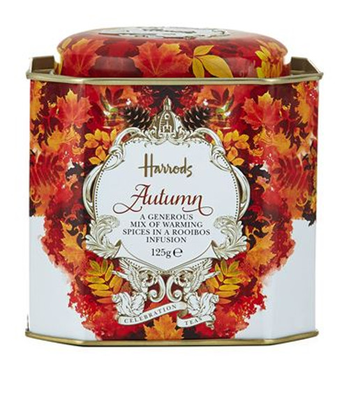 Harrods Celebration Teas collection includes the Autumn loose leaf tea presented in this beautifully decorated tin. A generous mix of warming spices in a rooibos infusion enhanced with ginger, apple and cinnamon. The aromatic infusion provokes the senses with every sip.  INGREDIENTS   Rooibos (28%), cocoa husk, ginger root (15%), apple pomace (12%), cinnamon pieces (10%), acidity regulator: citric acid; flavourings -macadamia, brittle, roasted almond, cheesecake, hazelnut-, sunflower petals, safflower petals.