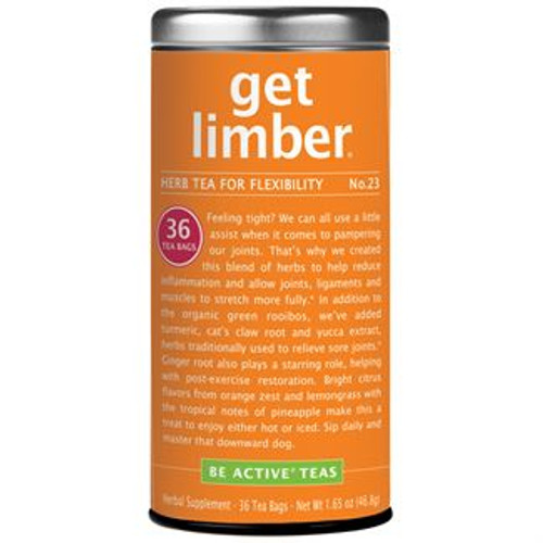 Relieving Herbs - We can all use a little assist when it comes to pampering our joints. That's why we created Get Limber® herbal tea for inflammation and flexibility. The blend of herbs in this anti inflammatory tea helps reduce inflammation and allows joints, ligaments and muscles to stretch more fully.* In addition to the organic green rooibos, we've added anti-inflammatory* turmeric, cat's claw root and yucca extract, herbs traditionally used to relieve sore joints.* Ginger root also plays a starring role, helping reduce post-exercise inflammation.  Get Limber was featured in Vital Juice as one of the latest healthy trends to try.