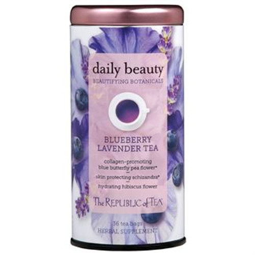 Sip, refresh and nourish your skin from the inside out. This hydrating, violet-hued herbal infusion contains a proprietary blend of botanicals that can help improve your skin complexion.* Indulge in a daily beauty ritual with this juicy blueberry and calming lavender caffeine-free tea.  A squeeze of lemon adds a bright flavor and a pink hue.  Daily Beauty was selected as a 2019 NEXTY Award Finalist in the Best New Tea or Coffee category at the Natural Products Expo West Show.  BLUE BUTTERFLY PEA FLOWER and BLUEBERRY: Supply anthocyanins that have been shown to promote collagen.*  HIBISCUS: One of the best hydrators nature has to offer.*  ROSE HIP: Studies have shown anti-aging properties for skin.*  BAMBOO: Contains silica which can strengthen hair, skin and nails.*  SCHIZANDRA BERRY: An adaptogen used for thousands of years to help protect the skin.*