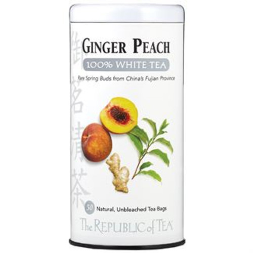 This rare tea offers the lushness of a fancy peach seasoned with the tingle of spicy ginger in a base of 100% White Tea. For thousands of years, the peach has been China's darling of longevity.  Authentic 100% White Tea only grows in the majestic mountains of China's Fujian Province. Tender white downy buds are hand-plucked just two days of the year, right before the leaf opens. With small yields and high demands, it remains one of the world's most rare teas. We are honored to offer you this season's harvest featuring delicate flavor notes and a sweet, lingering finish. White tea is the least processed of all tea varietals and retains more of its antioxidants, known as polyphenols. Discover tea in its most natural state and raise a cup to good health.