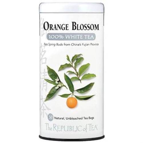 Highly scented orange blossoms are full of essential oils and are traditionally used as adornments in wedding ceremonies. The blossoms impart an invigorating citrus note to this rare white tea, creating a cup that is delicate yet fresh and crisp.  Authentic 100% White Tea only grows in the majestic mountains of China's Fujian Province. Tender white downy buds are hand-plucked just two days of the year, right before the leaf opens. With small yields and high demands, it remains one of the world's most rare teas. We are honored to offer you this season's harvest featuring delicate flavor notes and a sweet, lingering finish. White tea is the least processed of all tea varietals and retains more of its antioxidants, known as polyphenols. Discover tea in its most natural state and raise a cup to good health.