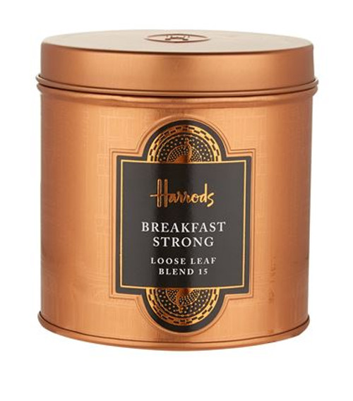DETAILS  Infuse with freshly boiled water for 3 - 5 minutes OVERVIEW  Harrods presents an invigorating, full-bodied, flavourful cup of black tea to enjoy morning, noon or night. Rich, malty, second-flush Assam from India is balanced with a robust and brisk Kenyan, ensuring an expert blend that packs a punch.  INGREDIENTS   100% Black Tea