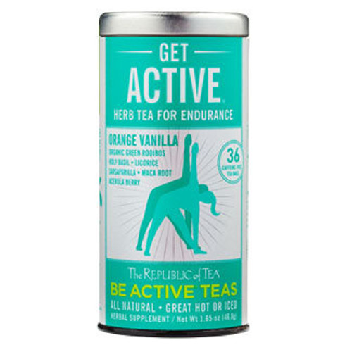 """Activating Herbs - Exercise? No doubt it should be a regular part of our routine. Some of us are disciplined movers and shakers and some of us are 'working on it.' This inspired herbal blend is meant for both camps. With an organic green rooibos base, it employs holy basil, a powerfully rejuvenating herb that helps the body adapt as it copes with the physical stress of exercise while increasing endurance.* Licorice and maca root support the endocrine system, which works to keep all our systems in balance during and after exercise.  Get Active® was featured in Vital Juice as one of the latest healthy trends to try.  Get Active® Tea was featured on NBC Today Show as part of their """"What's Hot in Health"""" segment."""