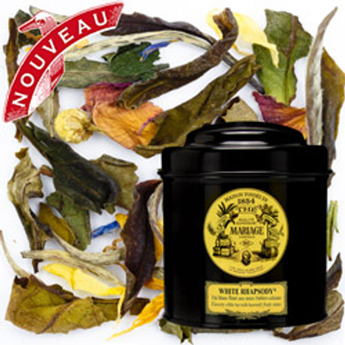 Tender, sensual and fragrant, WHITE RHAPSODY is a beautiful white tea with gourmet aromas of ripe fruits and dashing flowers. The delicate perfume of dew-kissed peony blends with summery nuances evoking peach, apricot and fig. A symphony in white.