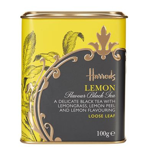 DETAILS  Presented in a Harrods tin OVERVIEW  Unwind with Harrods' exclusive blend of lemon tea. This delicate infusion of black tea is enhanced with lemongrass, lemon peel and lemon flavouring for a full bodied citrus flavour. Perfect for enjoying on chilly winter nights.  INGREDIENTS   Black tea (86%), Lemongrass (10%), Lemon peel (2%), Lemon flavouring, Vanilla flavouring