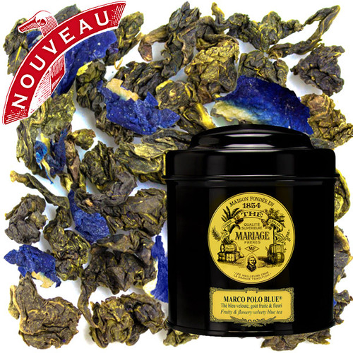 The most legendary of blended compositions, MARIAGE FRÈRES' iconic fragrance of sumptuous fruits and flowers from China and Tibet is reborn in Blue Tea™.  Its indigo-blue cup offers a smooth elixir of sensual and gourmet nuances.