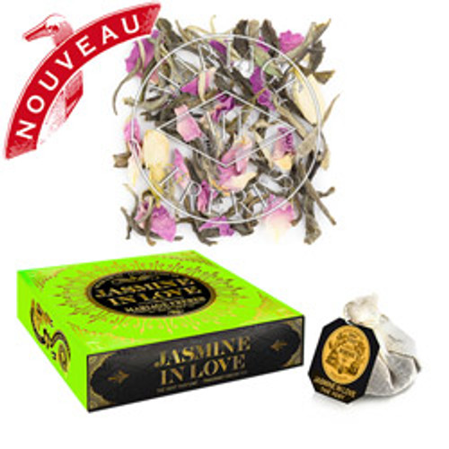 MARIAGE FRÈRES concocts a sublime and seductive fragrance of jasmine with the elegant and soothing notes of rose for a composition of enchantingly floral green tea.  A uniquely graphic box in fluorescent colours is already a collector's dream, revealing to the trained eye a multitude of shimmering hearts.