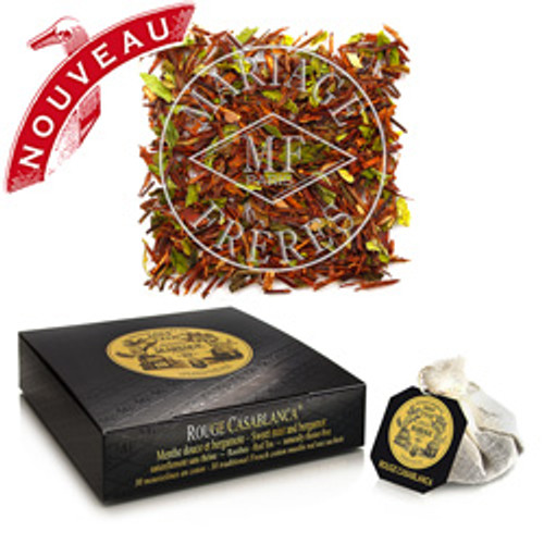 Legendary notes of sweet mint and bergamot married to the smoothness of red rooibos, 100 % theine free.  Each cup of ROUGE CASABLANCA is a journey to a charming and timeless world.  Exotic and addictive  Play it again, Sam!