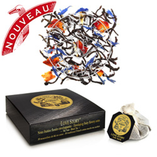 LOVE STORY® is a beautiful declaration of love for France – its joie de vivre, its gastronomy, its romantic charm – in the form of a seductive gourmet black tea with accents of velvety, fruity and flowery notes.  The most irresistible of the THÉS FRANÇAIS®
