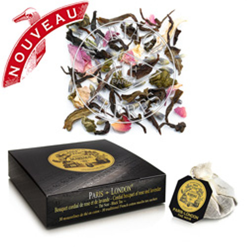 In celebration of the first Mariage Frères Tea Emporium in London, this exclusive composition is truly audacious.  Fresh and young, this vernal black tea from the Himalayas marries perfectly to a magnificent white tea: mixed together with precious rose petals, crisp and fragrant, lavender of the English persuasion, generous and lively, and delicate white flowers.  This joyous bouquet – blending the je ne sais quoi of London with the French touch – is an exquisite balance of floral and fruity flavours.  Borne of the light and wind, this haute couture tea is dressed to impress.  Très chic!