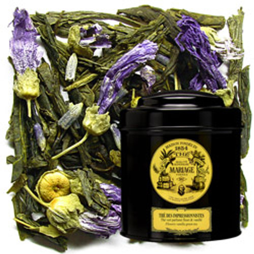 In the wild, rocky, maritime region of Provence in southern France, nature's shimmering colours create rare and intense harmonies that delighted Impressionist artists.  This green tea, scented with mild spices and white flowers, is also dotted with mallow flowers as a visual echo of the dazzling and powerful fragrance that fills the mouth.  A colourful tea.