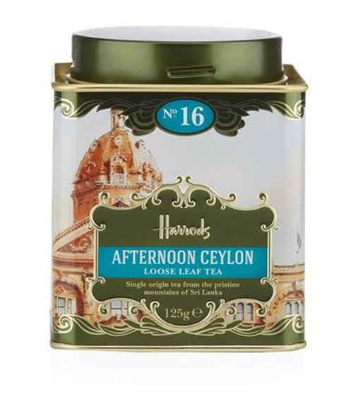 OVERVIEW  The Harrods No. 16 Afternoon Ceylon is a single origin tea from the pristine mountains of Sri Lanka. Light and refreshing, this loose leaf tea will deliver a medium-brown brew with tints of orange and a softly balanced citrus flavour.  INGREDIENTS  Black Tea (100%)