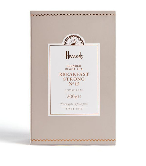 Feel instantly soothed with this intense blend sourced from all corners of the world. Bursting with flavour yet delicately light, Harrods English Breakfast loose leaf tea is a fragrant blend of malty Assam and brisk Kenyan sourced from India and Kenya. Perfectly tailored for a breakfast cup, silken tea bags offer a full-bodied blend, that once added with milk, results in a refreshing pick-me-up to start the day.   NUTRITIONAL INFORMATION-PER 100G   NEED TO KNOW Vegetarian INGREDIENTS-ALLERGENS IN BOLD 100% black tea.