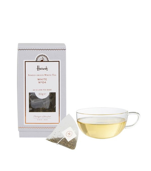 Unwind with a cup of Harrods White tea Noº04. The timeless brew is delightful, refreshing, rounded and full of flavour. Each bag is crafted with biodegradable silk to allow the full flavour to come through in every cup.   NUTRITIONAL INFORMATION - PER 100G   NEED TO KNOW Vegan Tea bags INGREDIENTS - ALLERGENS IN BOLD For allergens, see ingredients listed in bold: 100% white tea