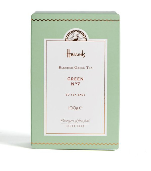 Soak your senses in this delicate green tea leaving a lingering smoothness. Incredibly intense, rich in flavour and mouth watering in its softness, Harrods Green Tea is like liquid silk. Grown at high altitude, the tea bushes benefit from heavy mists, cloud and small bursts of sunlight, which only serve to enrich the flavour. Pure seduction in a cup.   NUTRITIONAL INFORMATION - PER 100G   NEED TO KNOW Vegan INGREDIENTS - ALLERGENS IN BOLD For allergens, see ingredients listed in bold: Green Tea (100%).