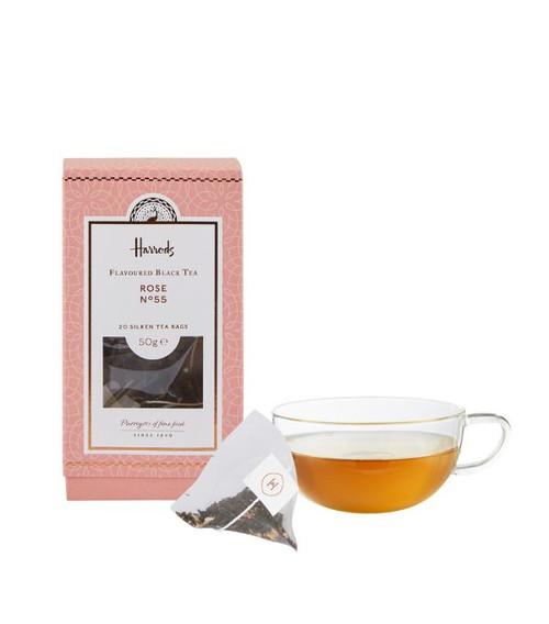 Feel refreshed with this sweet and aromatic blend harvested from the hills of China. Brew a cup with an extra-special little something with this Harrods Rose tea Nº55. Sweetly fragranced, the fine china leaves are infused with rose flavouring and delicate petals for added aroma. It is the perfect blend for a tea time treat.   NUTRITIONAL INFORMATION-PER 100G   NEED TO KNOW Vegan Tea bags INGREDIENTS-ALLERGENS IN BOLD For allergens, see ingredients listed inbold: Black tea (86%), rose flavouring (10%), rose petals (4%)