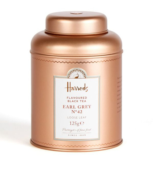 Drink in the spirit of the Far East with this rejuvenating Indian blend delivered in an eco-friendly tin. In our quest to continue a legacy of sourcing the rarest tea varieties from the Far East, Harrods No. 42 Earl Greyis a delicious and refreshing brew from our heritage collection. Picked in India from the finest tea leaves, this loose leaf blend is homed within a reusable tin, celebrating the purveyors of fine food since 1849.   NUTRITIONAL INFORMATION-PER 100G   NEED TO KNOW 125g Tea origin: India Homed in a reusable Harrods tin INGREDIENTS-ALLERGENS IN BOLD For allergens, see ingredients listed inbold: 98% black tea, bergamot oil flavouring