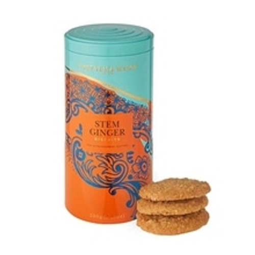 Warming and energising, this wonderfully buttery biscuit is made with a dash warm-hearted stem ginger, which adds a comforting, spicy warmth and a delicious chewiness to this already irresistible biscuit. The perfect treat for a mid-afternoon pick-me-up, or as a moreish companion to a cup of inviting Fortnum's famous tea.  Weight: 200g  Tin Dimensions: 17cm(H) x 8cm(W) x 8cm(D)