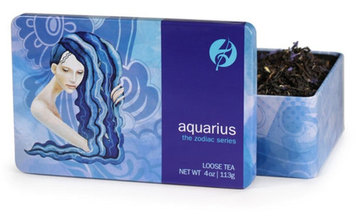 Black tea infused with hazelnut and vanilla flavors will fuel Aquarius' inventive thinking and lively conversations. Aquarians are visionaries and offbeat intellectuals who love to exchange ideas with friends, preferably over a strong cup of tea. This aromatic blend stimulates the senses, while bits of cocoa nibs and blue cornflowers satisfy Aquarius' thirst for the unusual.  Steep at 212° for 3-5 minutes.