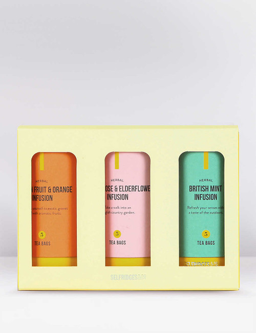 """Selfridges Selection5 British Mint Infusion Tea Bags, 5 British Rose and Elderflower Infusion Tea Bags, 5 Passion Fruit and Orange Infusion Tea Bags 32.5g Palm oil free """"Exclusive to Selfridges Selection, this trio offruit and herbal teas is the ideal gift for caffeine cravers. Light, summery and unmistakably British, the Rose and Elderflower infusion is refreshing and delicately floral. Subtly sweet, the Mint Infusion blend is wonderfully refreshing, while the Passionfruit and Orange tea is aromatic and exotic"""". Selfridges says"""